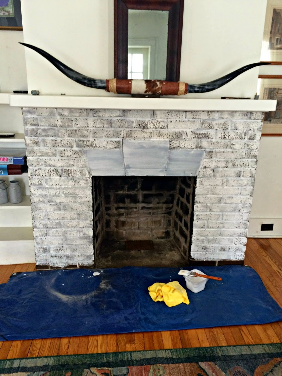 white wash brick, white wash fireplace, whitewash fireplace