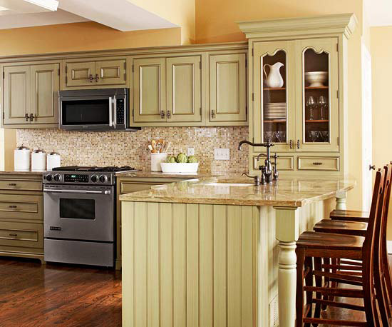 Furniture: Traditional Kitchen Design Ideas 2011 With Yellow Color