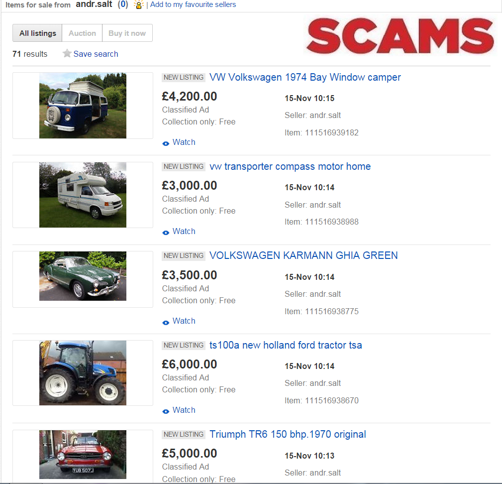 SCAM ON EBAY : 70 FRAUDULENT VEHICLE LISTINGS - VEHICLE FRAUD - andr ...