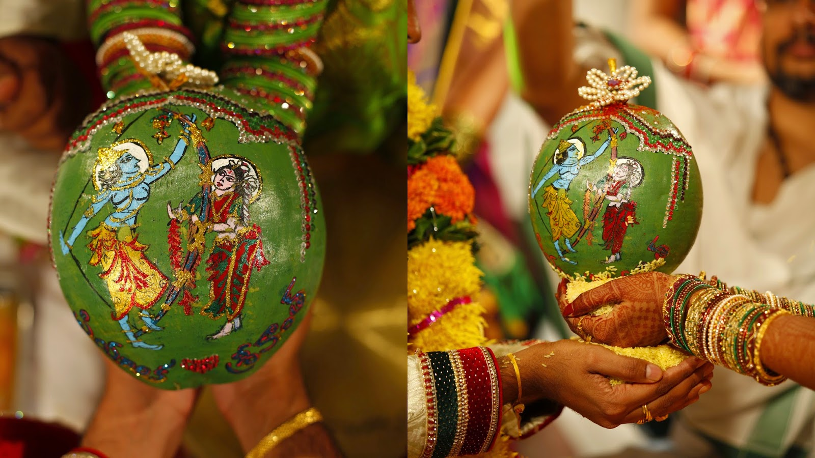 Pelli poola jada bride and bondam but new water proof stickers are the latest wedding coconuts which cost 13 the price of painting coconut is picking up trend in us and india junglespirit Gallery