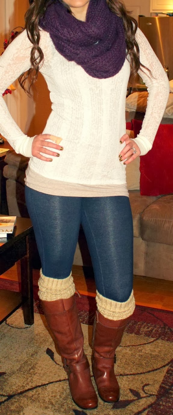 Sweater, scarf, skinny and boots for fall style