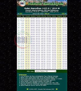 Jadwal Imsakiyah Ramadhan 1435 H / 2014 M Wilayah Jakarta Selatan