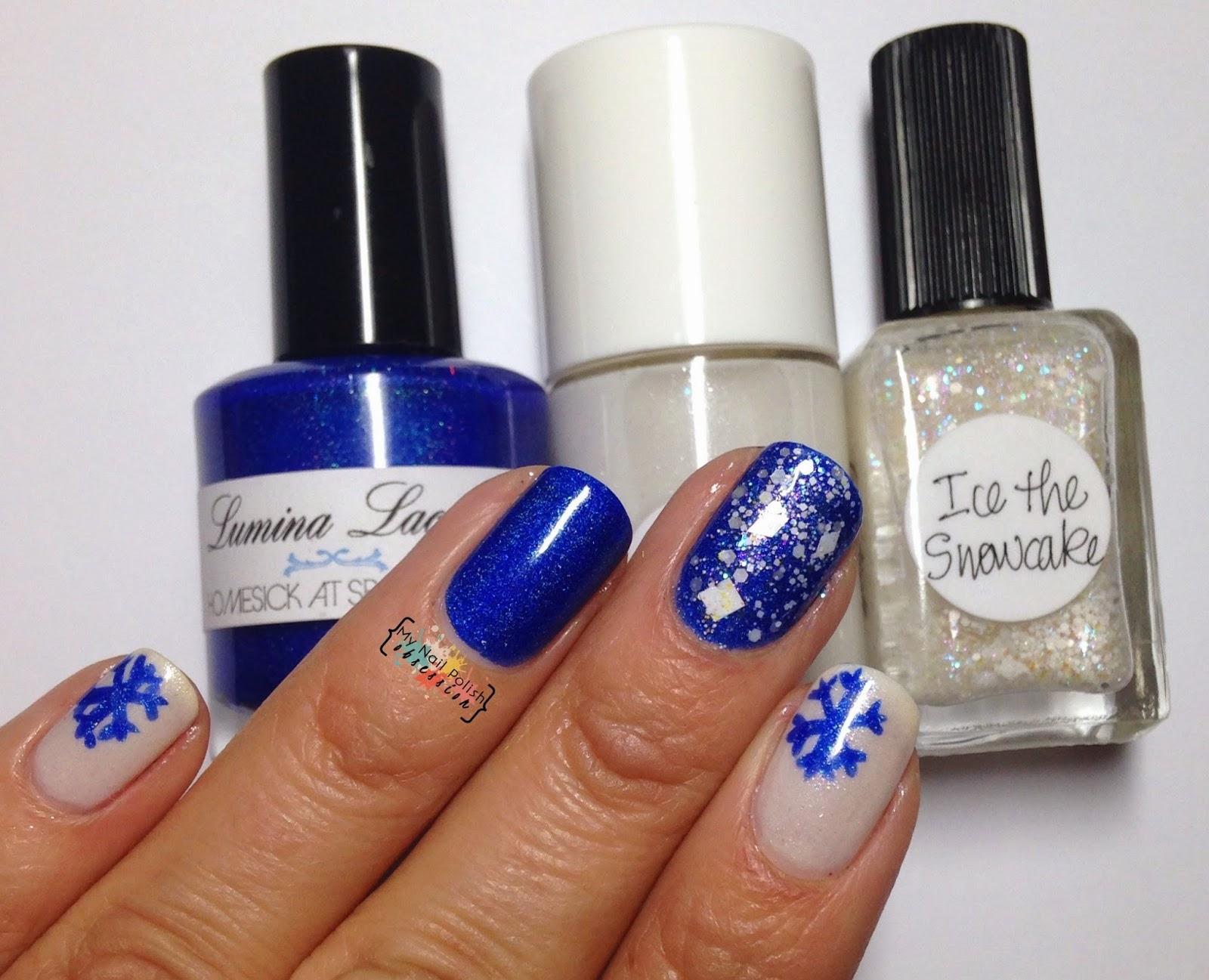 Blue Christmas mani, Lumina Lacquer Homesick at Spacecamp, The Nail Junkie Snowflake, Lynnderella Ice the Snowcake