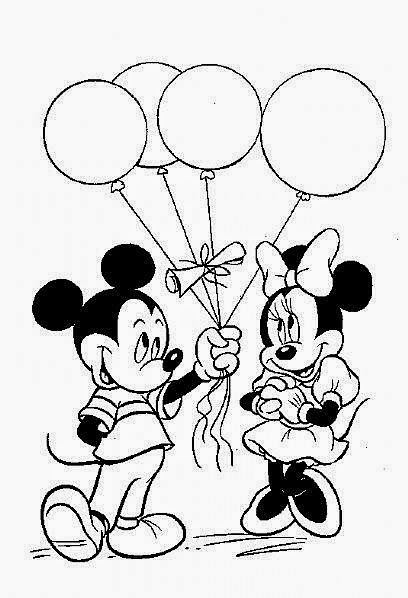 Printable Mickey Mouse With Balloons Valentine Celebration Coloring Page For Kids