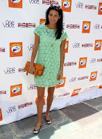 Angie Harmon leggy in a mint ghreen lace dress