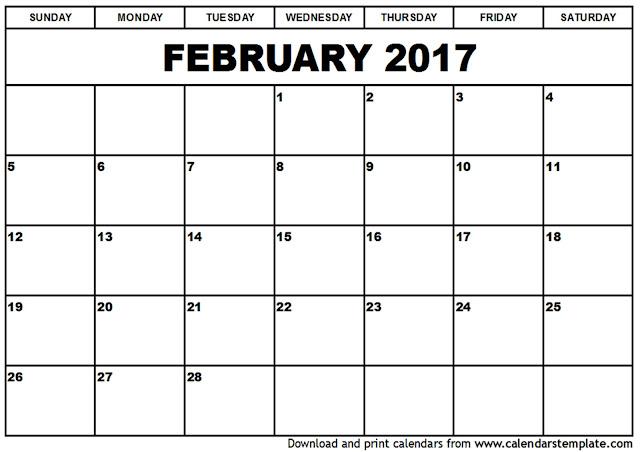 Blank Calendar February 2017 - Calendar