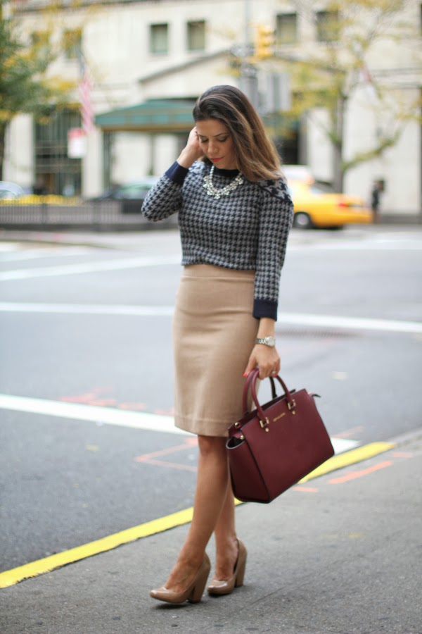 Houndstooth Sweater; wool skirt; what to wear to work; Michael Kors; Michael Kors Selma; J. Crew skirt; houndstooth sweater; no 2 pencil skirt; kurt geiger; nude heels