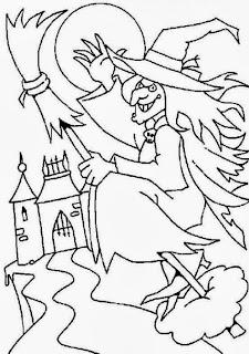 Brujas de Halloween para Pintar, parte 3