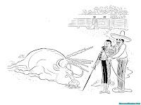 Mewarnai Gambar Banteng Melawan Matador