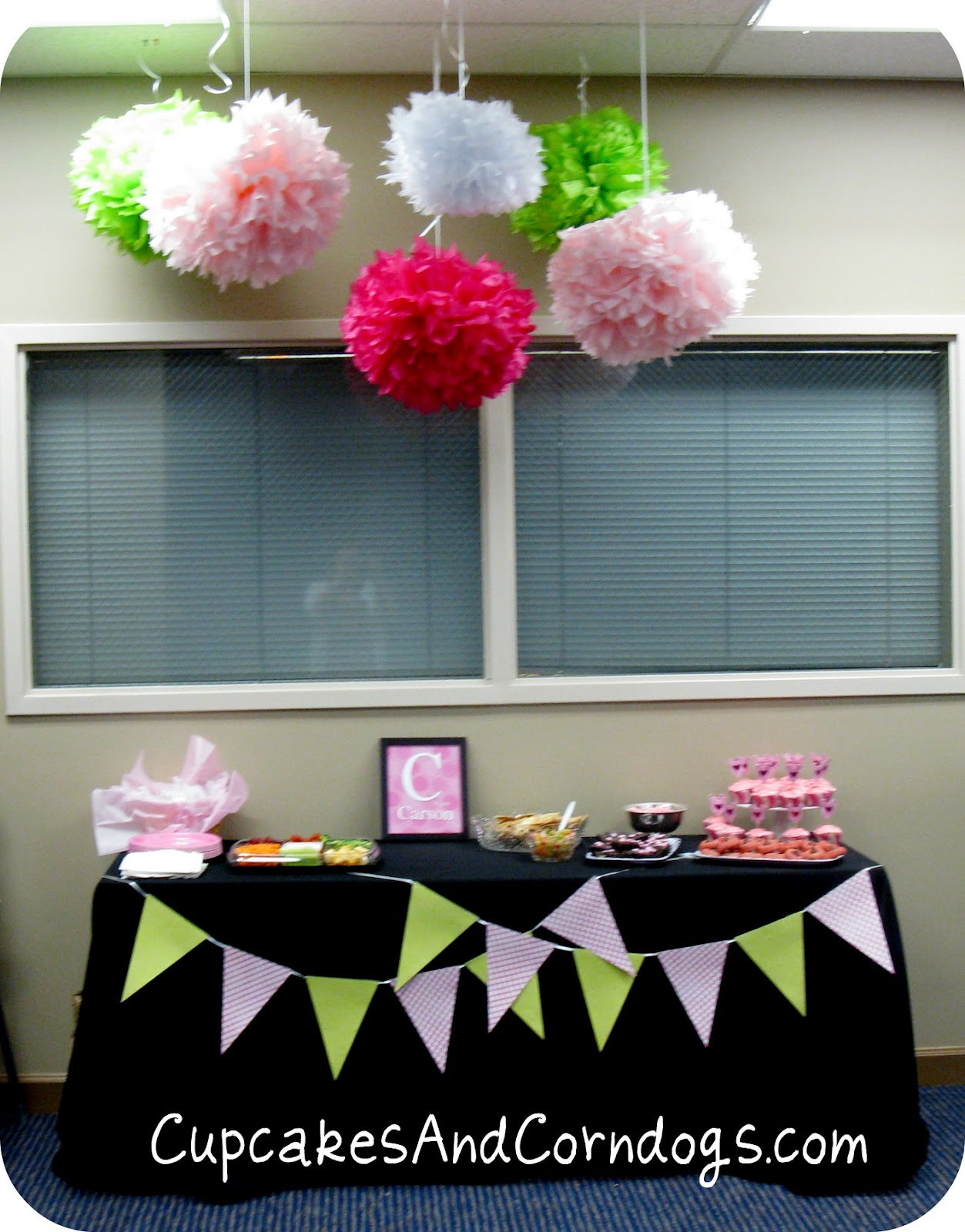 cupcakes and corndogs pink and green baby shower