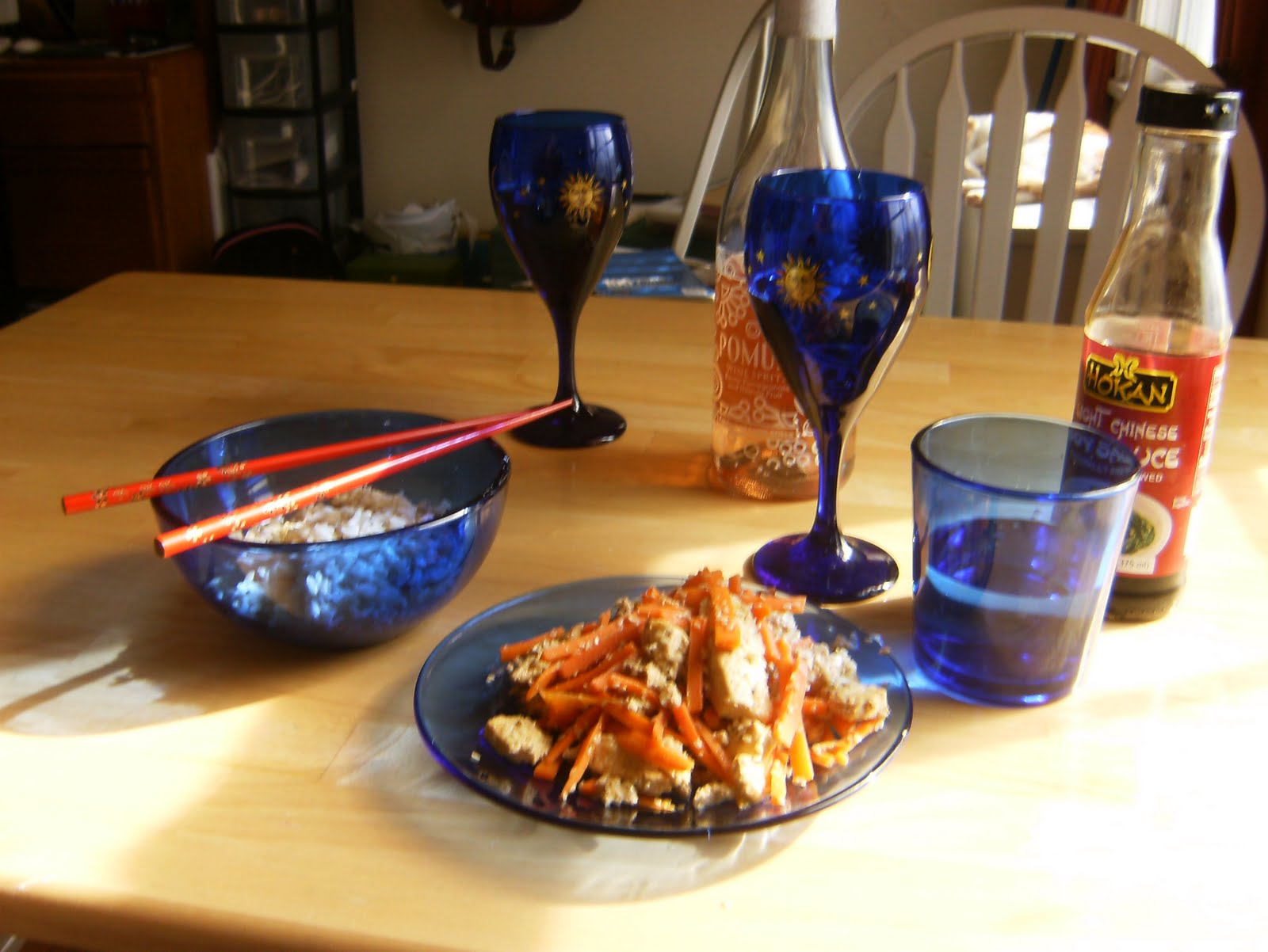 Japanese Style Table Setting A Written Recipe Tofu And Carrots Done Japanese Style