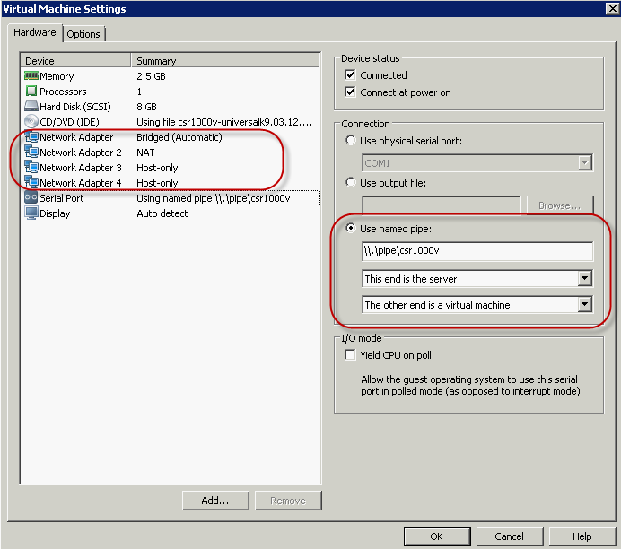 vmware how to add a serial port to your vm