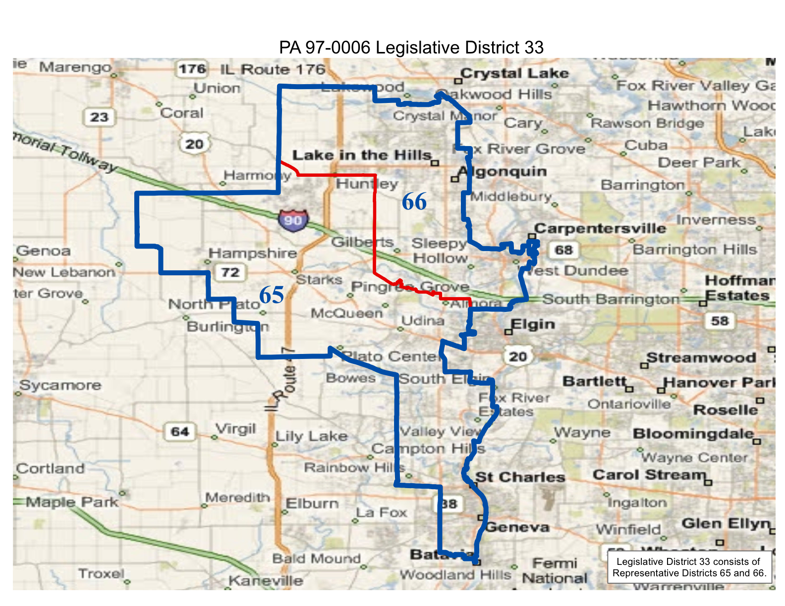 map of realigned illinois state legislative district 33 and state representative districts 65 and 66