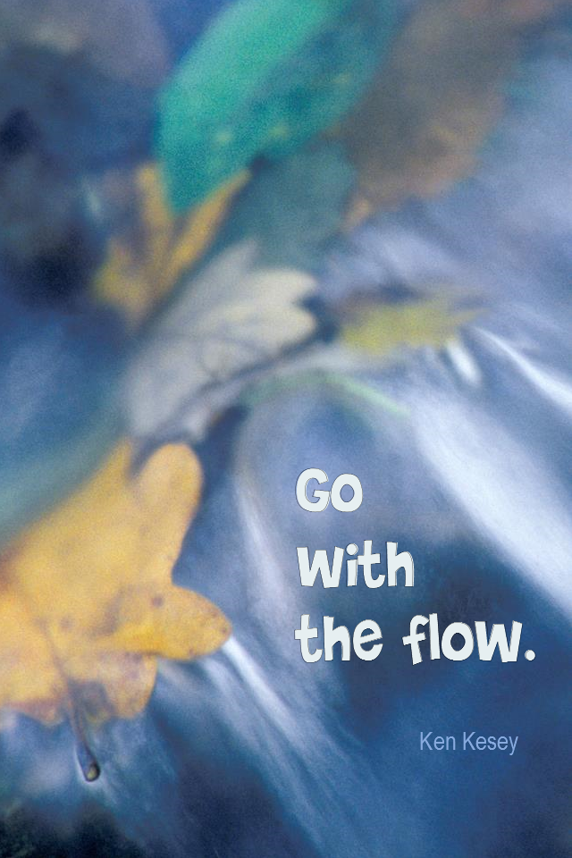 visual quote - image quotation for Mindfulness - Go with the flow. - Ken Kesey