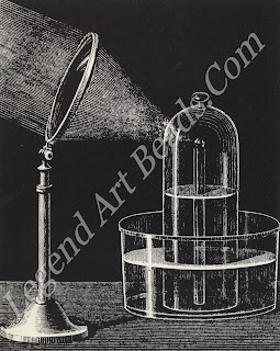 The apparatus used by Lavoisier in his diamond combustion experiment. This was one of the earliest experiments to prove that diamond was composed principally of carbon.
