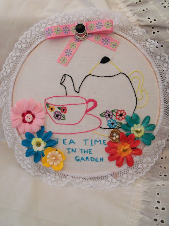Tea Time in The Garden Embroidered Canvas