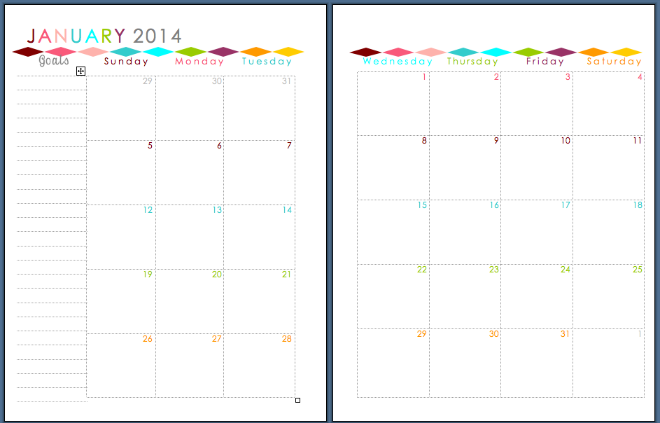 Followed by a two page spread of a month...