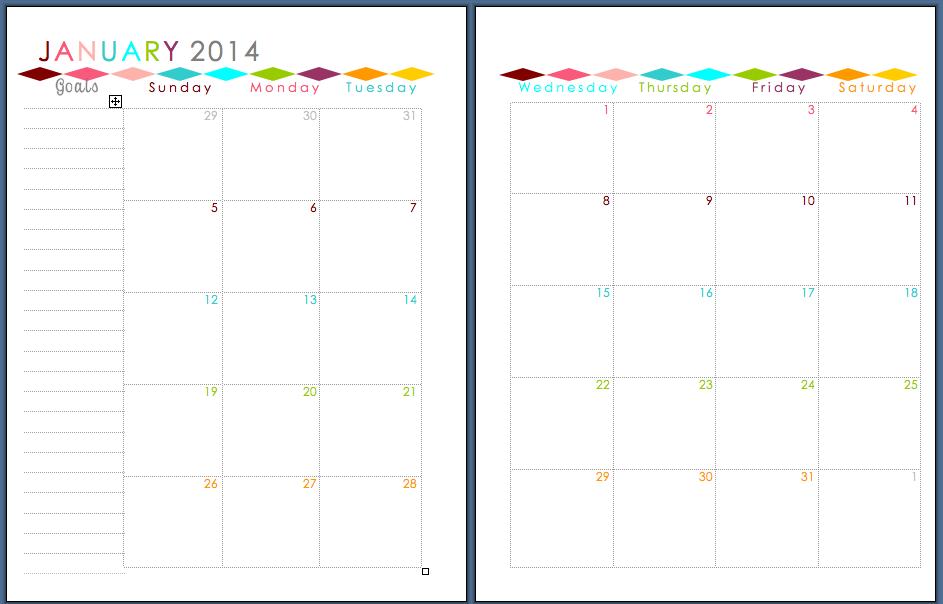 Sherbert Cafe 2014 Planner Printable – Printable Monthly Planner