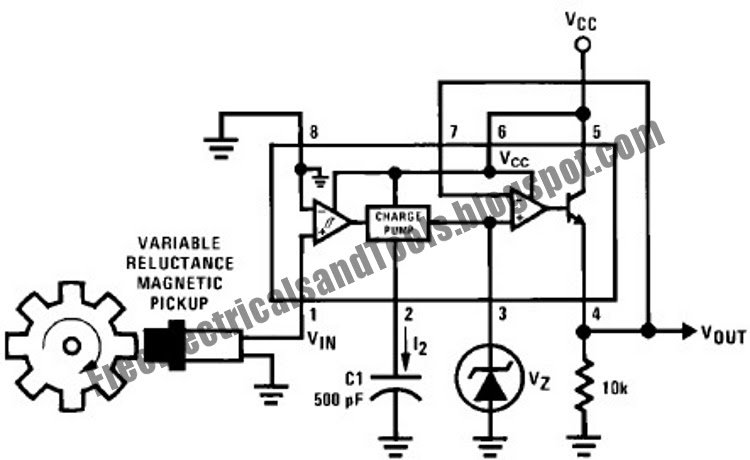 free schematic diagram  tachometer circuit using lm2907 lm2917 frequency to voltage converter