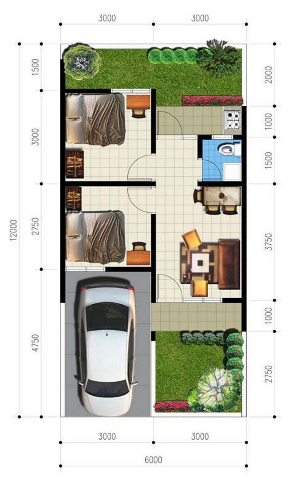 gambar denah ada garasi 6x12 yang bagus