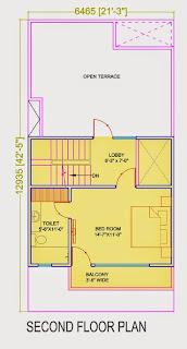 Golf Country, Yamuna Expressway :: Floor Plans,Golf Villa (100 sq. yd.):- Second Floor Plan Plot Area: 453.27 Sq. Ft.