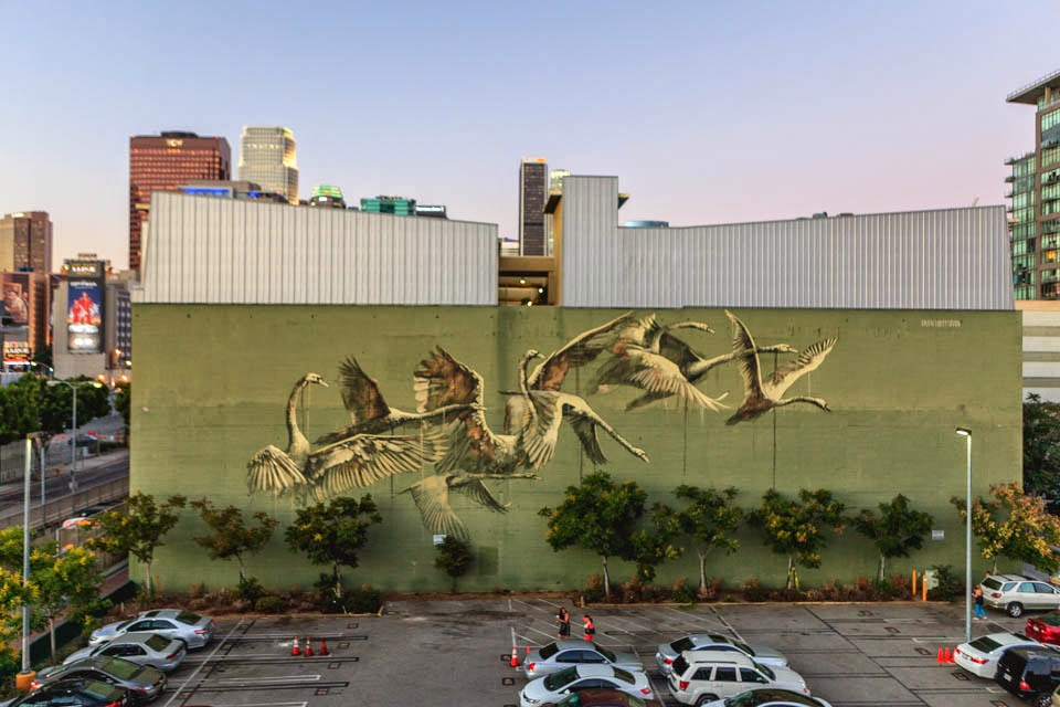 Faith47 is currently in California where she was invited by the DoArt Foundation to paint a new piece on the streets of Los Angeles.