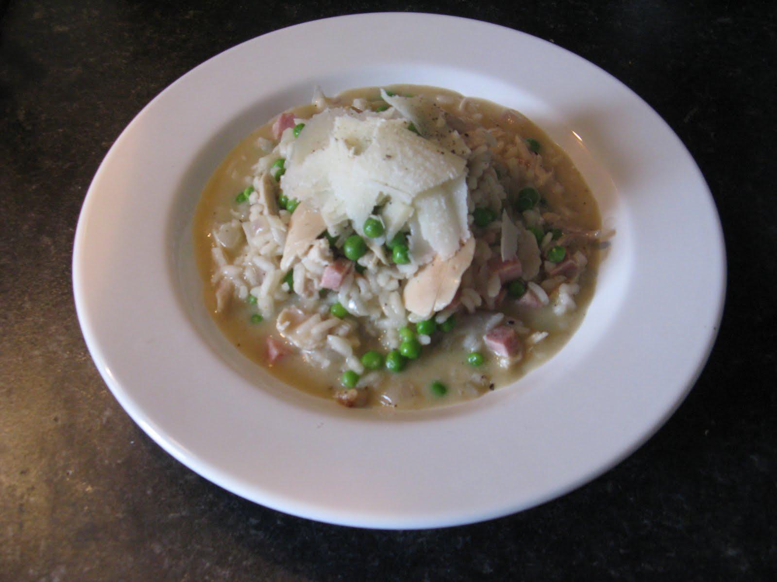 Chef mel 39 s kitchen recipe chicken ham and pea risotto for Ham risotto recipe