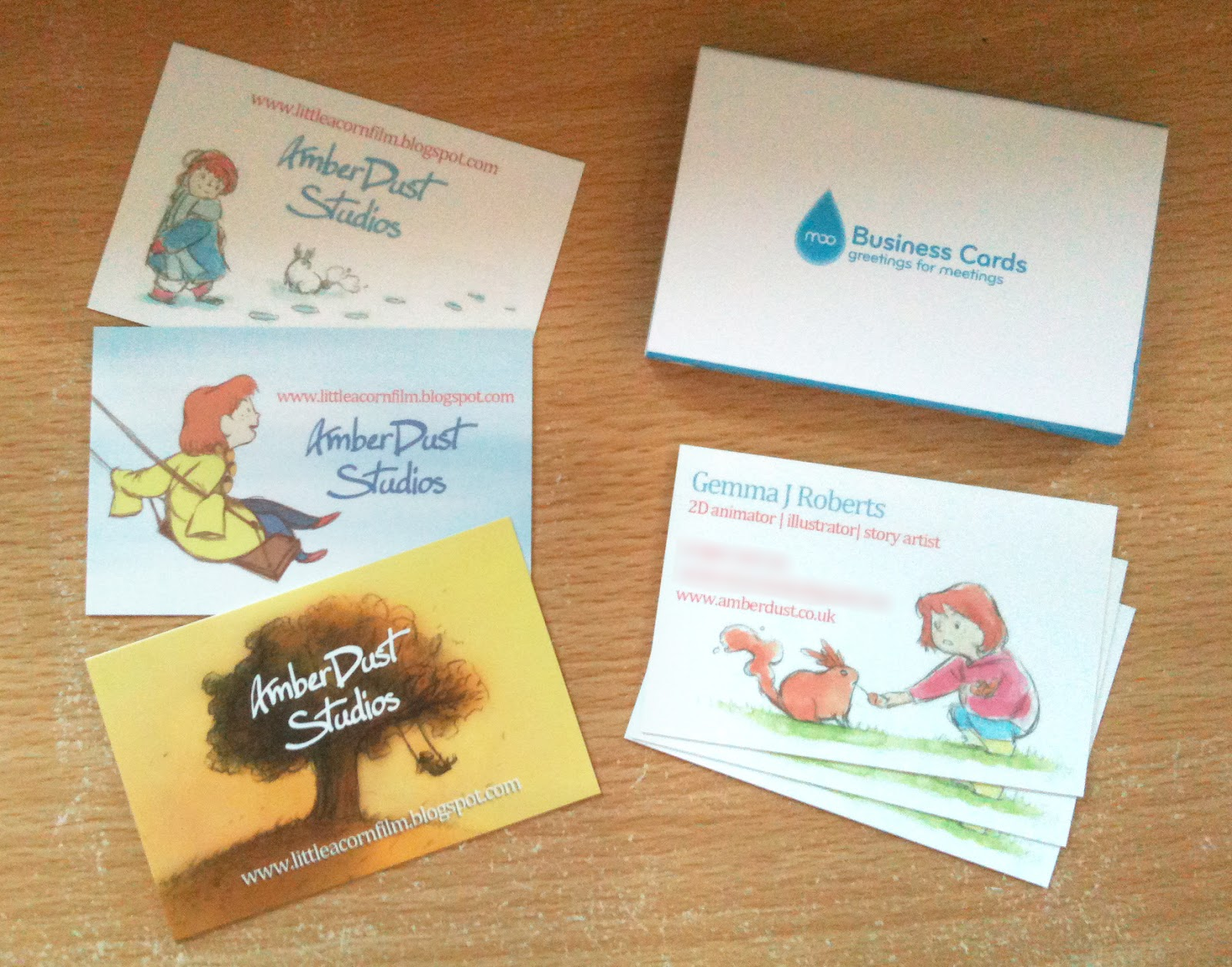 Acorns a short film by gemma roberts sample business cards though i wonder if the front of it looks like im a childrens book illustrator rather than an animator ill have to try some new designs soon colourmoves