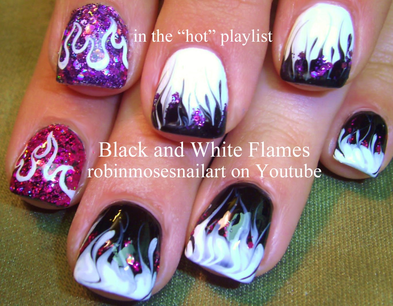 Robin moses nail art no water marble neon green flames up to no water marble neon green flames up to learn today on my youtube prinsesfo Image collections