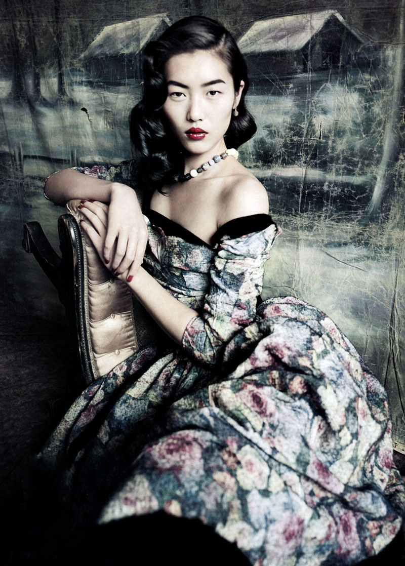 Liu Wen wearing Louis Vuitton Fall/Winter 2010 dress photographed by Paolo Roversi for Vogue China September 2010 via fashioned by love british fashion blog