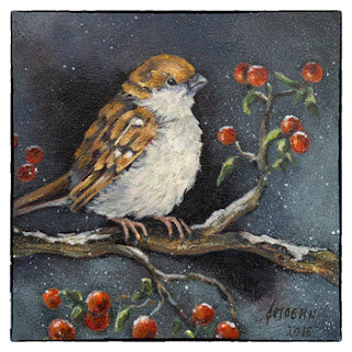 bijzondere kerstkaart schilderij winter mus met besjes Atelier for Hope Doetinchem