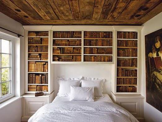 Wall deco parede de quarto com estante de livros wood for Deco quarto