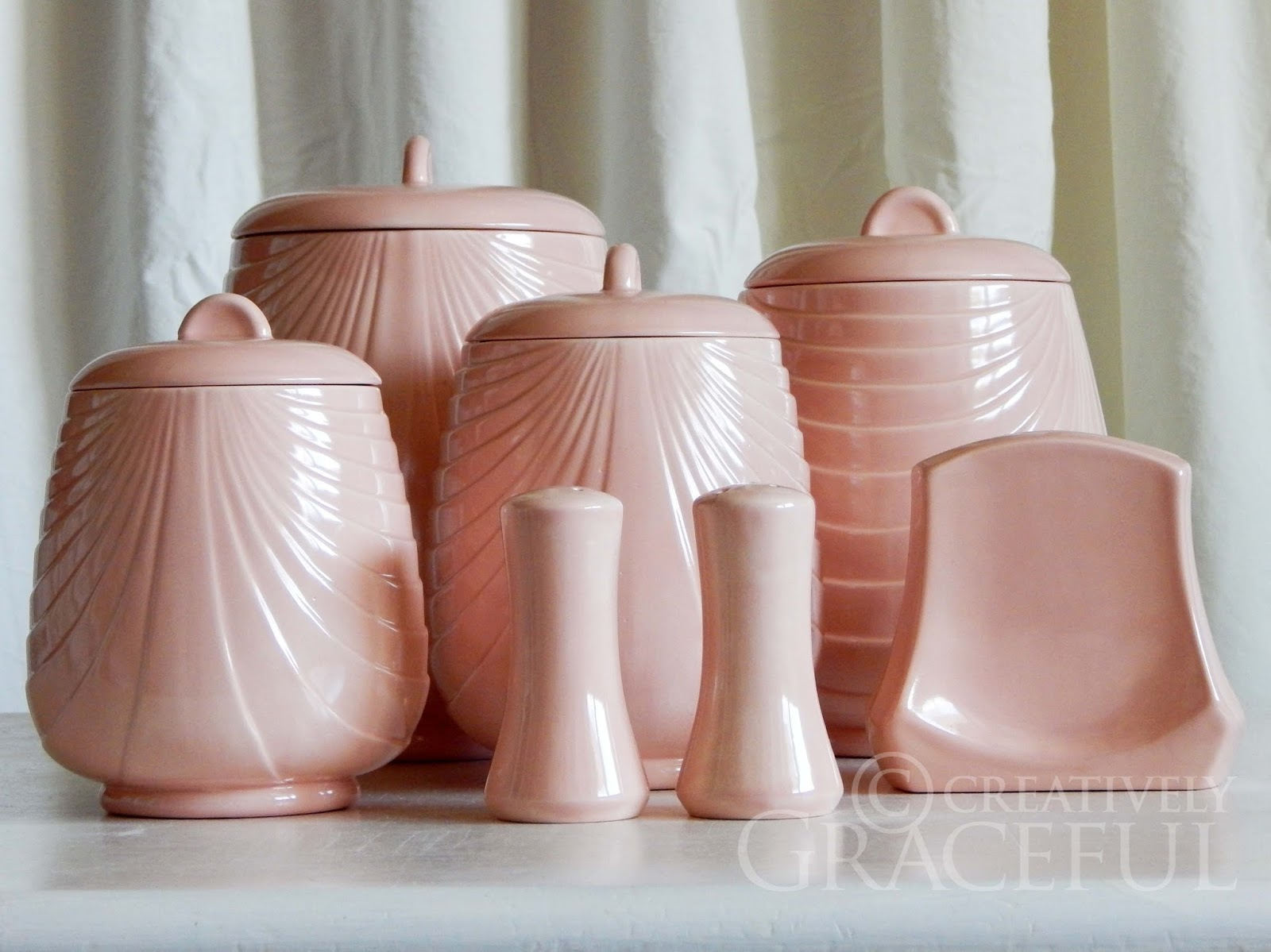 creatively graceful pink art deco swag canister set