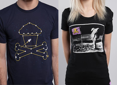Johnny Cupcakes 2013 Space T-Shirts - Constellation Crossbones & Moon Man