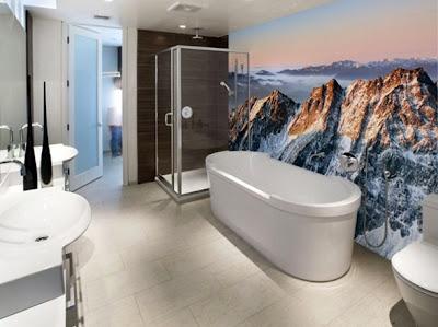 baño con fotomural
