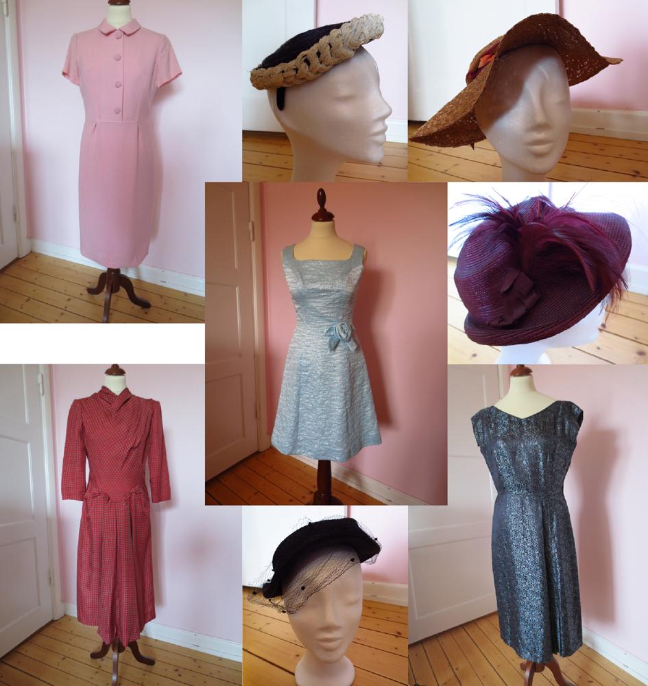 Vintageklänningar och vintagehattar till salu