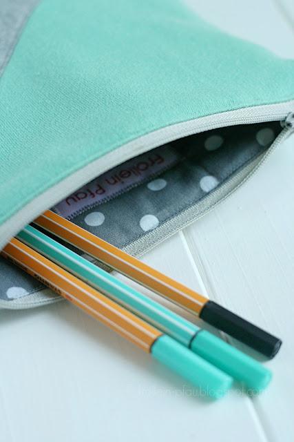 Creadienstag, Upcycling, Stiftemäppchen, kleines Täschchen nähen, Pullover, DIY, nähen, Kosmetiktasche mit Reißverschluss, Tangram, Jersey