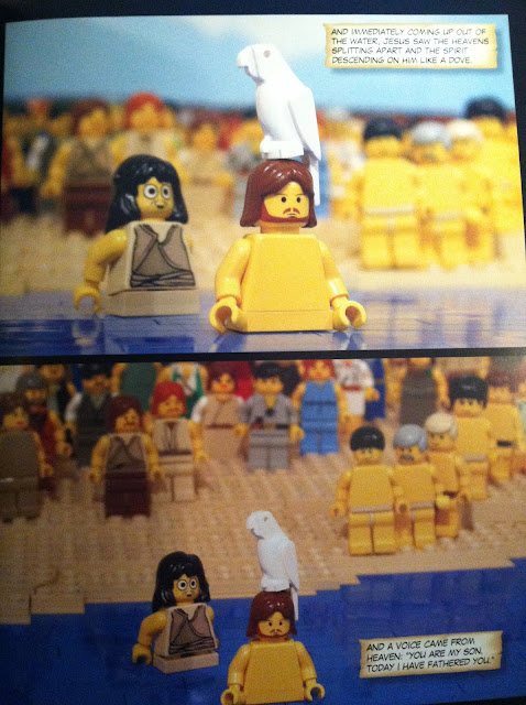 The Brick Bible:New Testament A New Spin on the story of Jesus getting baptized by John the baptist Lego scenes from the bible