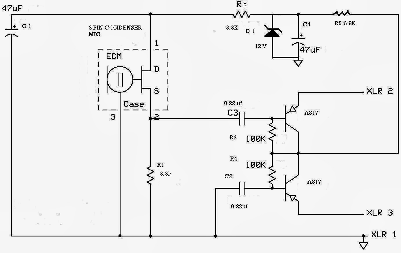 Diy Mic Phantom Power Schematic 3 Pin Condenser Circuit