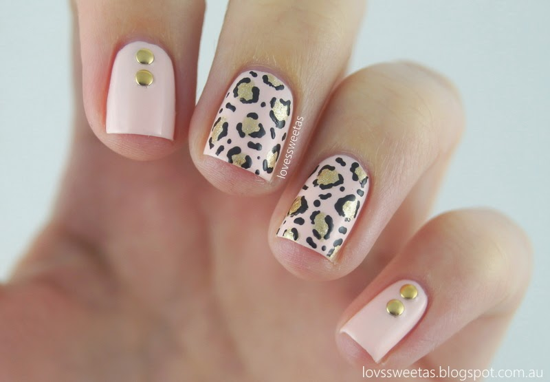 love\'s sweet as: Nail Art - Leopard Print & Studs {Pale Pink & Gold}