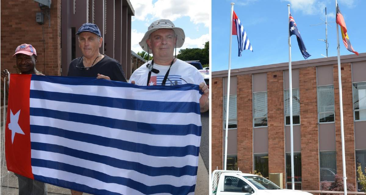 Flag of West Papua flies outside Lithgow Council