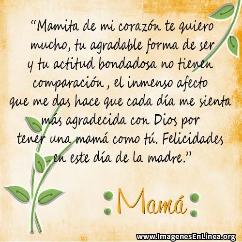 Mamita de mi corazón te quiero