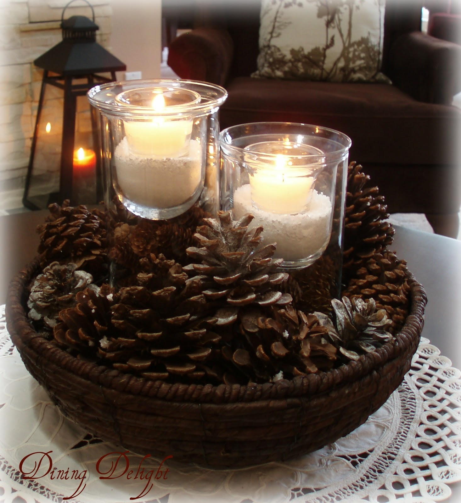 Pine Cone Candle Centerpiece : Dining delight winter living room in white brown and cream