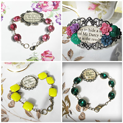 image pride and prejudice bracelets romeo and juliet shakespeare jane austen mr darcy elizabeth bennet vintage glass jewels