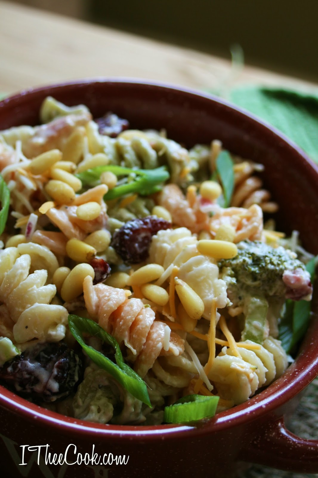 Fall pasta salad - Crisp Broccoli Crunchy Red Onion Dried Cranberries Cheese Crispy Salty And Smokey Bacon And Crunchy Toasted Pine Nuts Are The Stars Of This Show