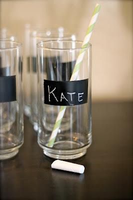 vasos decorado con pizarra