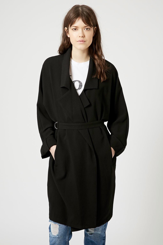 black belted trench coat, black belted mac,