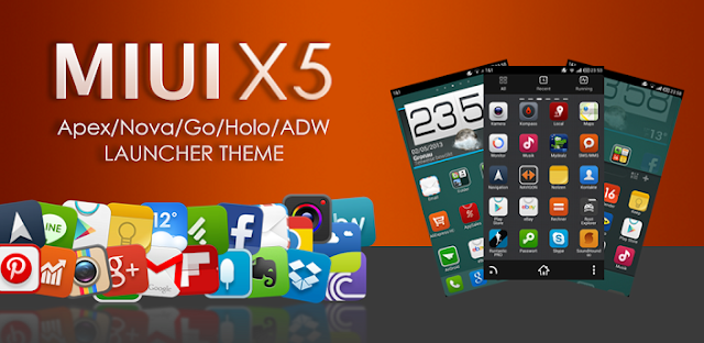 Download MIUI X5 HD Apex/Nova/ADW Theme v3.1.0 APK