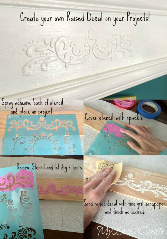 create your own raised furniture decals with stencils and spackle