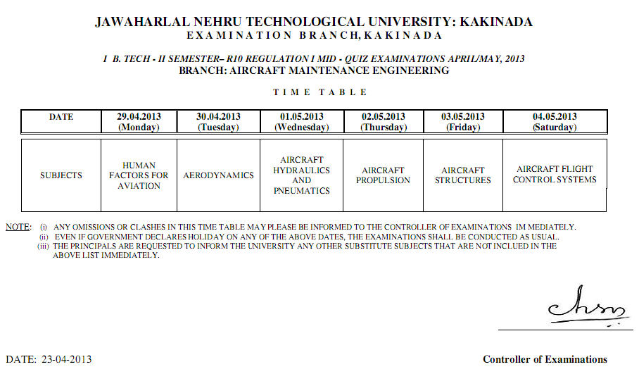 Jntu kakinada First Year B.tech Mid Exam Time Table April 2013 second Semester